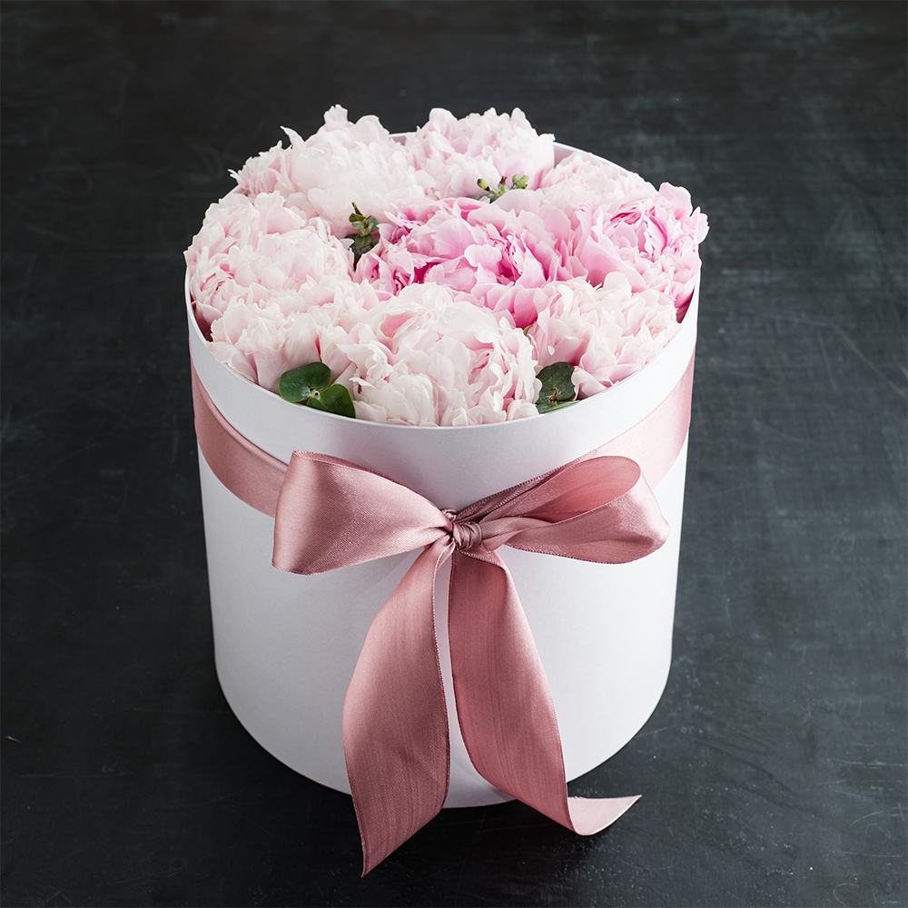 Pink Peonies in a Gift Box
