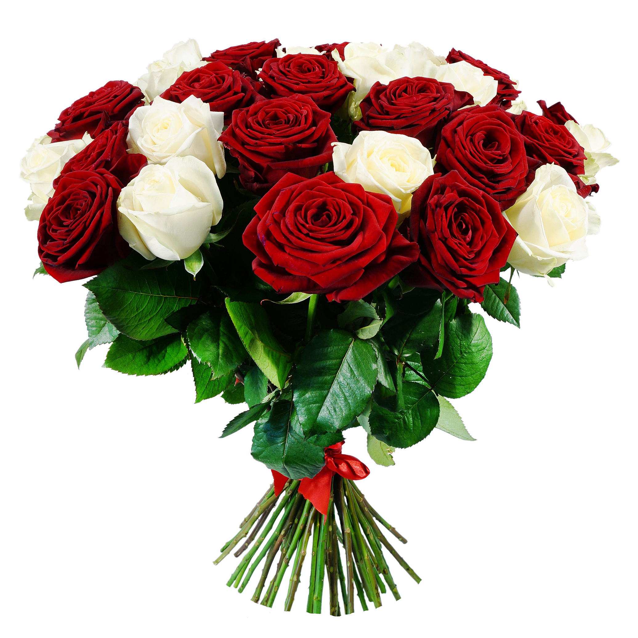 Eternal Love White & Red Roses Bouquet